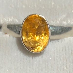 Silver 925 genuine Amber stone ring, size 6